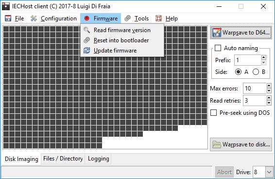 IECHost multi-threaded client: Firmware menu