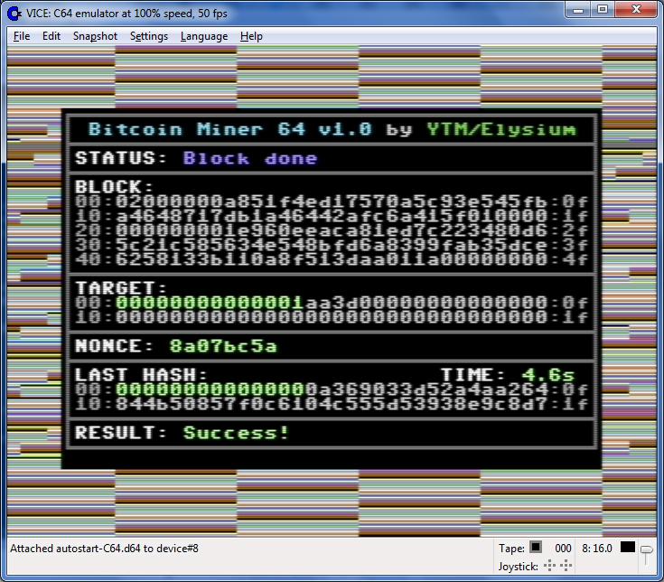 Bitcoin Miner C64 v1.0